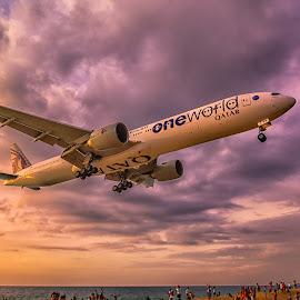 landing time by Kitty Bern - Transportation Airplanes ( sunset, airplane, thailand, beach, phuket )