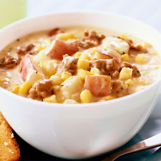 Crock Pot Corn and Ground Beef Chowder.