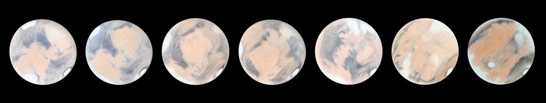 Photo: Cette frise, composée des dessins précédents, permet de voir Mars tourner.