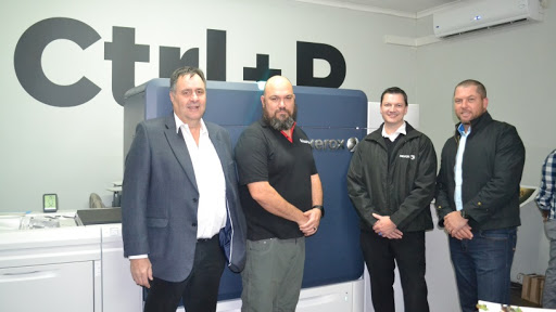 (From left): Keith Knott, LJ Rossel (owner of Blitsdruk),  Brent Farndon, Bryn Whithair.