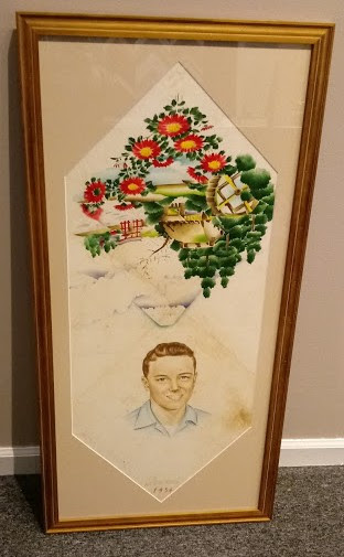 Painted portrait on silk