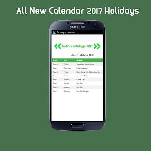 2017 Calendar Holidays - náhled