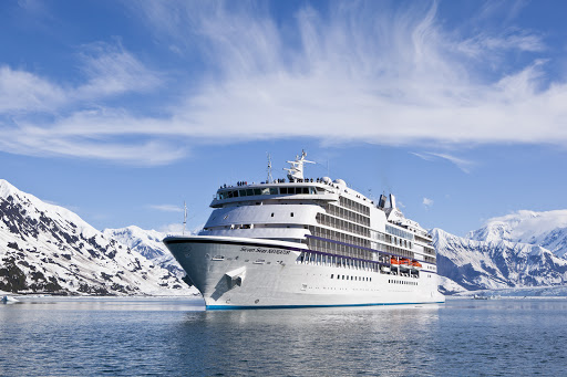 Regent's Seven Seas Navigator sails through Glacier Bay in Alaska.