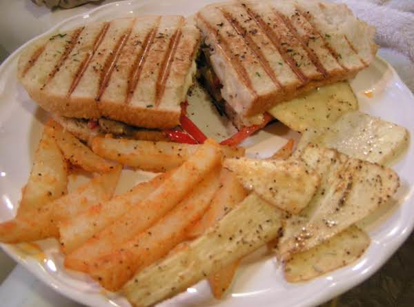 Oven Fried Parsnips And Cheese Steak Panini With Chive Butter Sauce - Dee Dee's