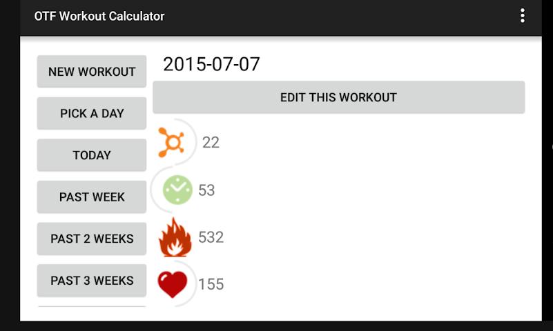 android OTF Workout Calculator Screenshot 2