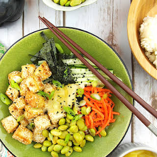 Vegan Sushi Bowl with Sesame Crusted Tofu.