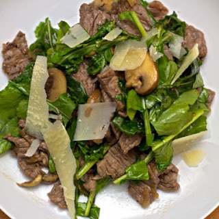 Steak Salad with Balsamic and Wilted Arugula.