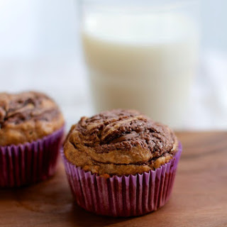 Chocolate Almond Butter Swirled Skinny Banana Muffins