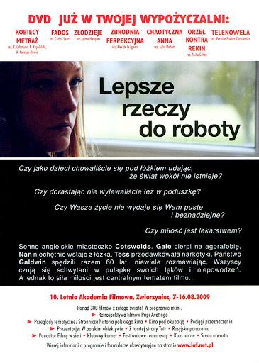 Tył ulotki filmu 'Lepsze Rzeczy Do Roboty'