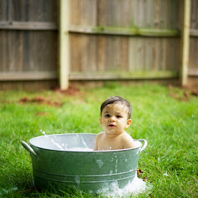 Tub time by A. Caracciolo - Babies & Children Babies ( water, splash, bubbles, tub, bath tub, baby, outside )