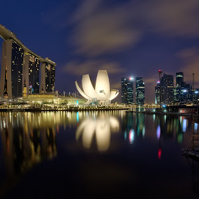 Singapore Cityscape by Martin Yon - Landscapes Travel ( clouds, reflection, mbs, marina, singapore )