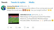 Itumeleng Khune and Jeremy Brockie Twitter banter screengrab.