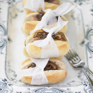 Mini Hot Dogs with Caramelized Onions.