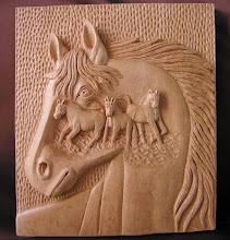 Photo: Fantasía con caballos. Tamaño: 34 x 39 cm. Talla en madera. Woodcarving.   Para leer algo más en relación con esta obra ir al blog: http://tallaenmadera-woodcarving-esculturas.blogspot.com/2010/03/fantasia-con-caballos.html