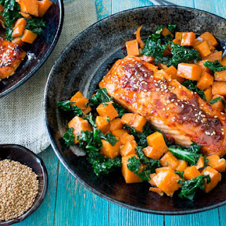 Baked Spicy Salmon and Sweet Potato Kale Hash Recipe