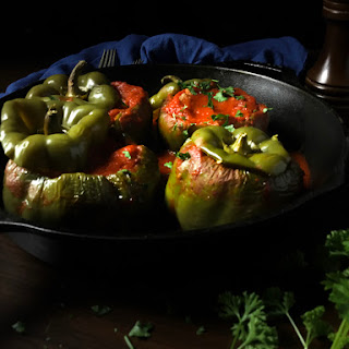 Pork Meatloaf Stuffed Green Bell Peppers.