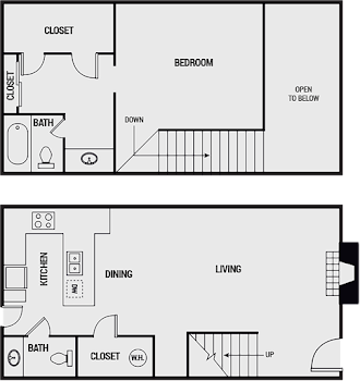 Go to One Bed, 1.5 Bath Loft Floorplan page.