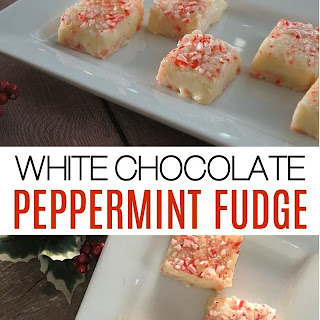 Easy White Chocolate Peppermint Fudge.