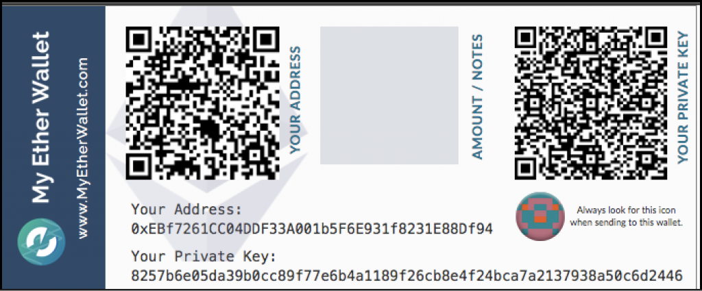 Paper cryptocurrency wallet