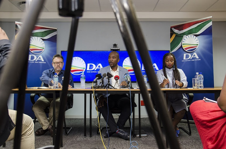 Mmusi Maimane, centre, James Selfe, left, and Phumzile Van Damme. Picture: THE TIMES/DAVID HARRISON