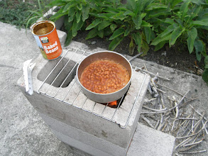 Photo: Testing: The bean test - Five minutes form tin to boiling