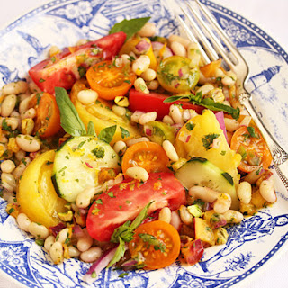 Flageolet, Nectarine & Tomato Salad with Lime, Ginger & Pistachios