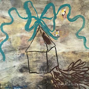 Maison-deracinee-au-ruban-bleu-sophie-lormeau-peinture-acrylique-sur-papier-magaeine,-art-contemporain,-figuratif,french-artist,