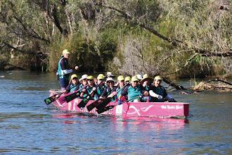 Photo: Pendragons in Kununurra Geoff Eldridge, Jenny's husband, steers us through the rapids.  photo by: Ave Gassman of the Kununurra Dragon Boat Club