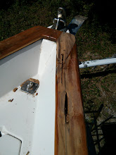 Photo: Exposing rot along the starboard caprail.  Yikes, i hope this does not extend very far aft.