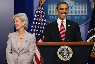 Photo: WASHINGTON, DC - FEBRUARY 10:  President Barack Obama (R) smiles while making a statement with Health and Human Services Secretary Kathleen Sebelius while making a statement in the briefing room at the White House on February 10, 2012 in Washington, DC. President Obama announced a reversal of his administration's health care rule requiring religious employers to provide women free access to contraception.  (Photo by Mark Wilson/Getty Images)