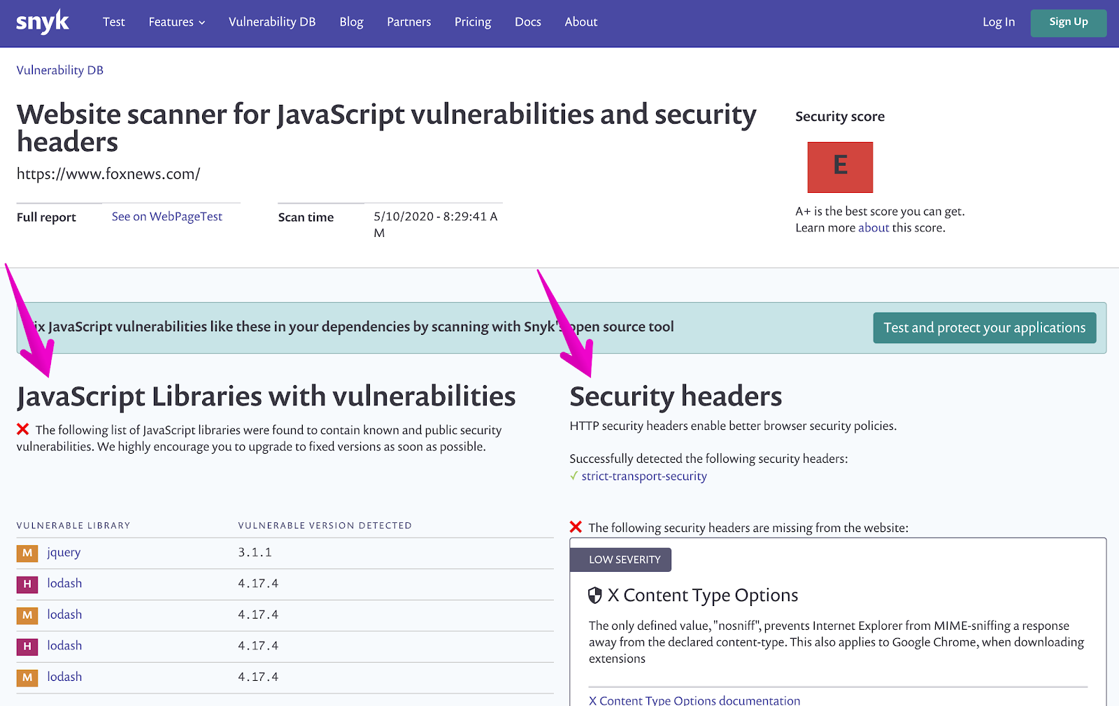Vulnerable JavaScript libraries and missing HTTP security headers in this website security score