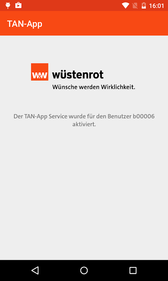 mein.wüstenrot TAN-App- screenshot