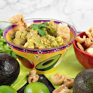 Addicting Keto Guacamole with Pork Rind Dippers.