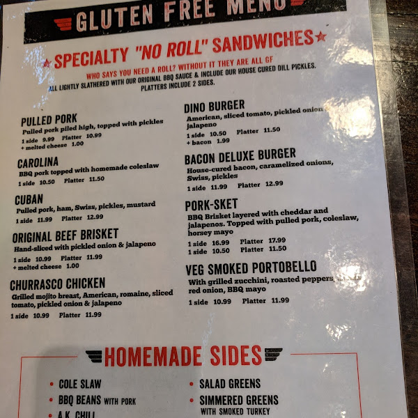 Awesome gluten free menu