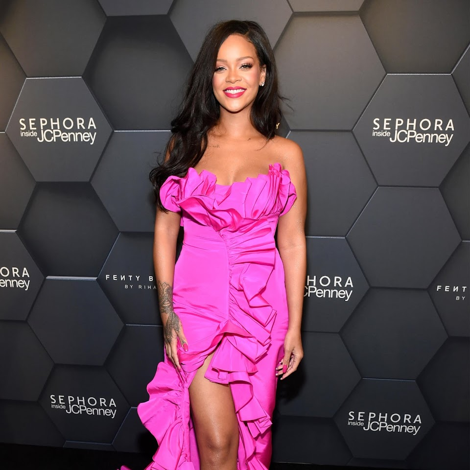 Rihanna-Pink-Dress-Fenty-Beauty-Anniversary