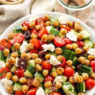 Greek Tomato Cucumber Salad with Crispy Chickpeas