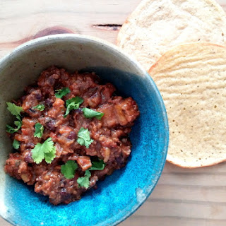Spiked Chorizo and Black Bean Chilli with Chipotle, Roasted Garlic and Plantain