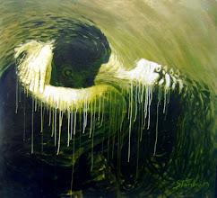 """Photo: """"Metamorfose"""". Acrílica/duratex, 121,5 x 136,5 cm, 1998, Mossoró, Rio Grande do Norte, Brasil. Coleção: Isaura Amélia Rosado."""