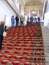 Photo: The 48 step Staircase of Honor, built by Chalgrin in the early 19th century, leads up to the Senate chamber.