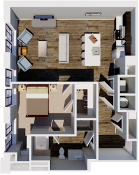 Go to One Bedroom HB Floorplan page.