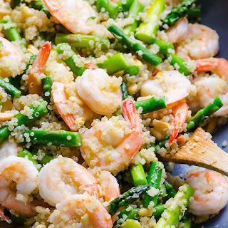 Garlic Butter Shrimp, Quinoa and Asparagus.
