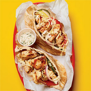 Chicken Souvlaki Pitas with Tahini Sauce