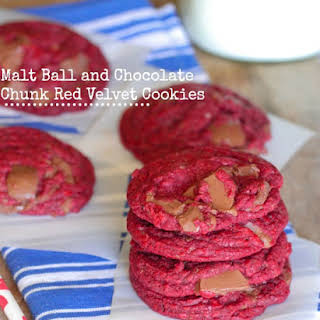 Malt Ball and Chocolate Chunk Red Velvet Cookies.