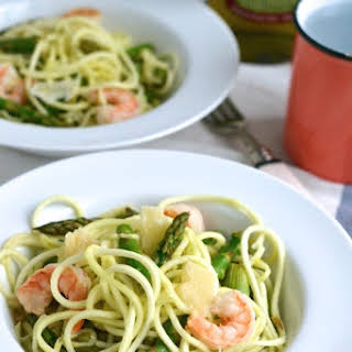 Shrimp Spiralized Zucchini Pasta.