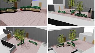 Diseño de la Plaza Julio Alfredo Egea desde cuatro perspectivas diferentes