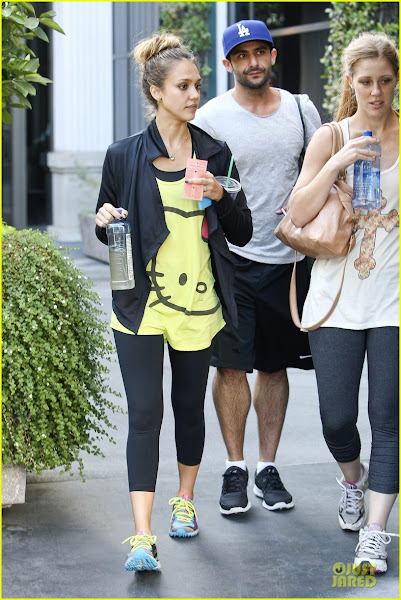 Photo: West Hollywood, CA - Actress Jessica Alba is seen leaving the gym with some friends in West Hollywood.