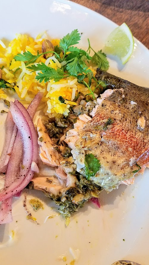 Breaking Bread luncheon with Meadowlark PDX and Nostrana to benefit the Cascade AIDs Project (CAP) with a luncheon featuring Iranian cuisine: ghezel ala. whole roast trout stuffed with herbs, walnuts and pomegranate, accompanied by saffron rice