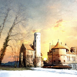 Neverwinter Nights by Bjørn Borge-Lunde - Digital Art Places ( clouds, fantasy, park, sunset, castillo, trees, castle, skies )
