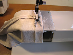 Photo: Sew, leaving an inch or so gap at one of the seams (for the drawstring to pass through).