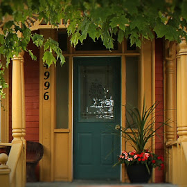 Welcome by Lena Arkell - Buildings & Architecture Homes ( orange, gold, door, flowers, green, porch, house,  )